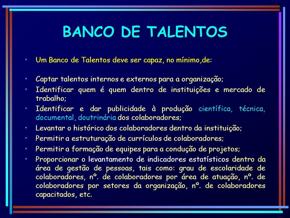 BANCO DE TALENTOS Um Banco de Talentos deve ser capaz, no mínimo,de: