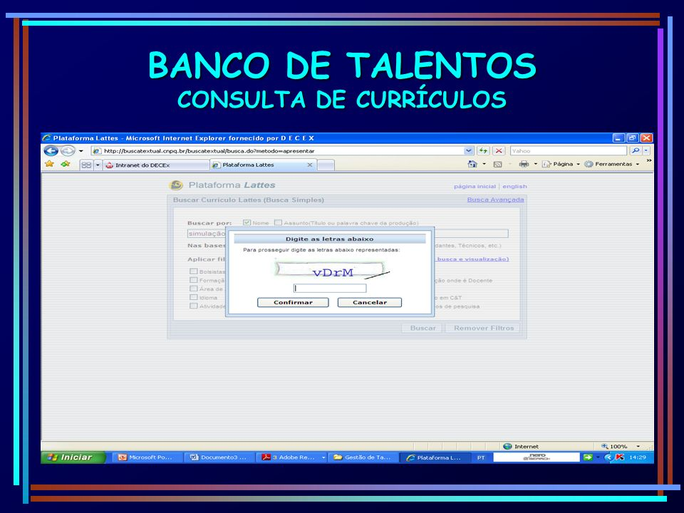 BANCO DE TALENTOS CONSULTA DE CURRÍCULOS