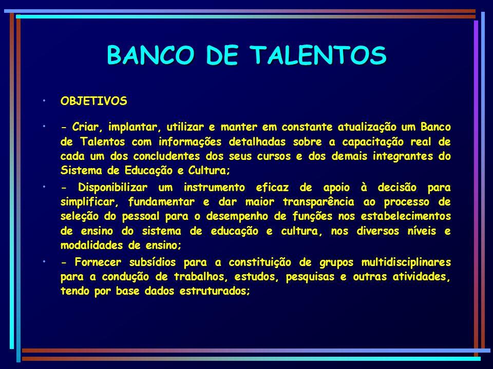 BANCO DE TALENTOS OBJETIVOS