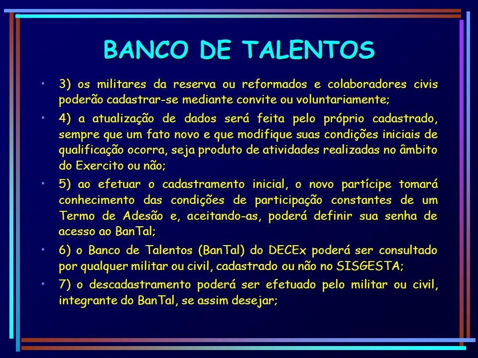 BANCO DE TALENTOS3) os militares da reserva ou reformados e colaboradores civis poderão cadastrar-se mediante convite ou voluntariamente;