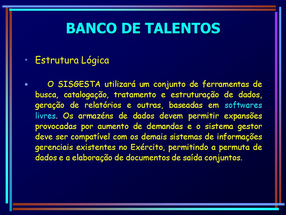BANCO DE TALENTOS Estrutura Lógica