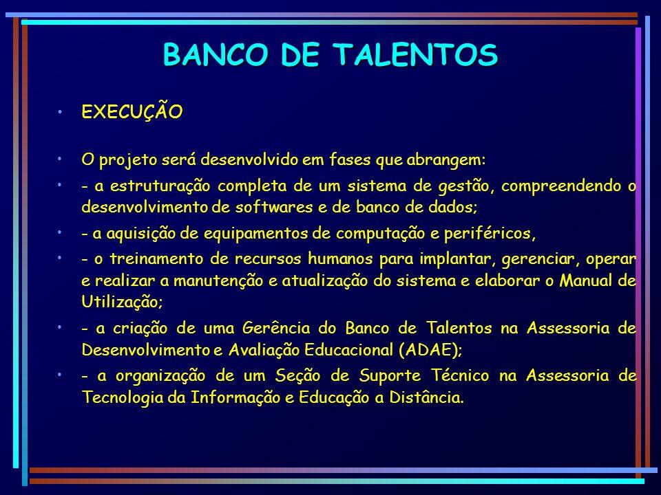 BANCO DE TALENTOS EXECUÇÃO