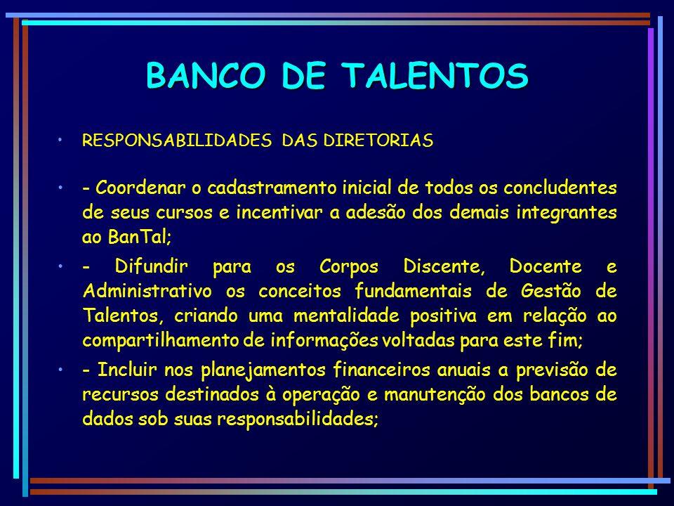 BANCO DE TALENTOS RESPONSABILIDADES DAS DIRETORIAS.