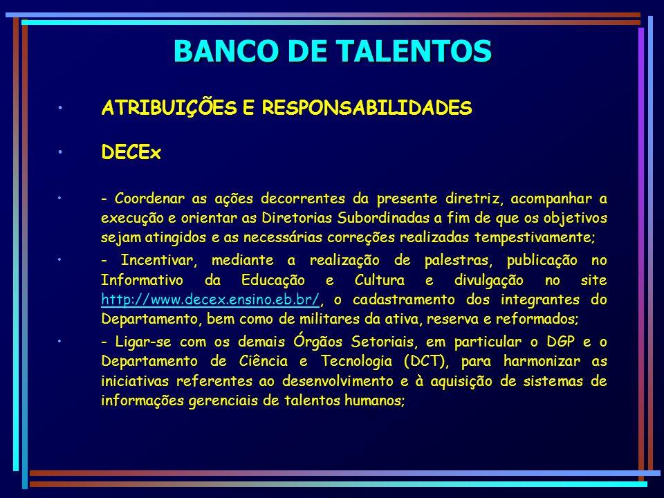 BANCO DE TALENTOS ATRIBUIÇÕES E RESPONSABILIDADES DECEx