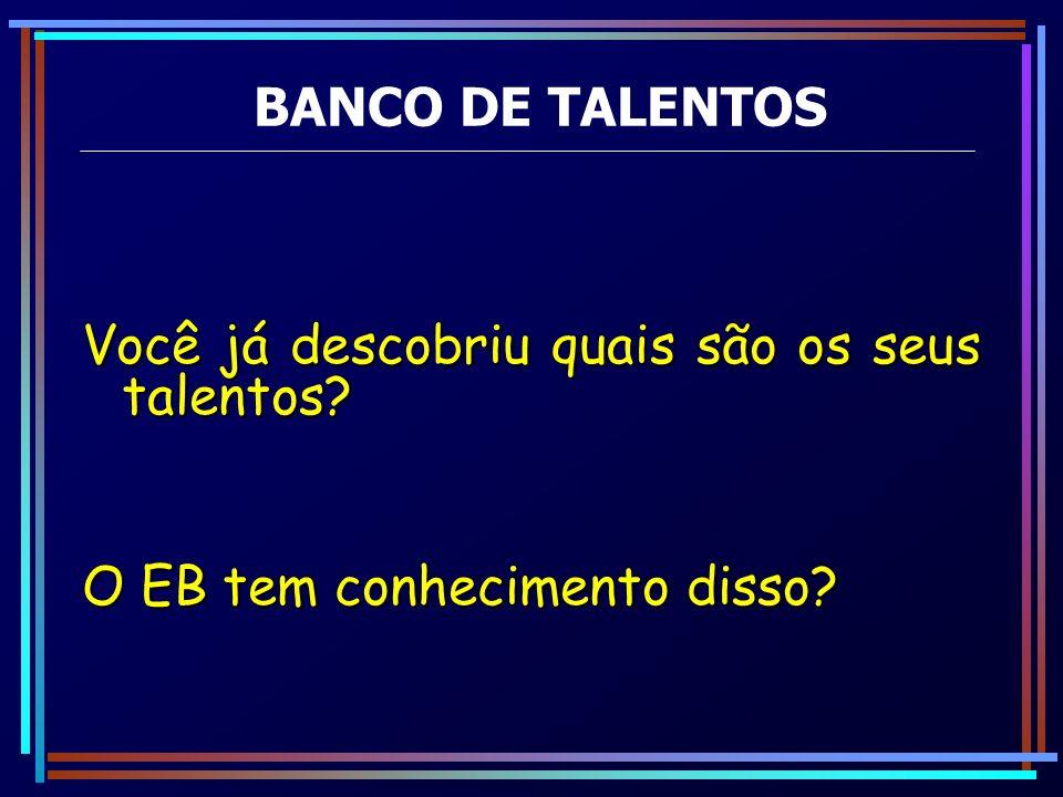 BANCO DE TALENTOS Você já descobriu quais são os seus talentos O EB tem conhecimento disso