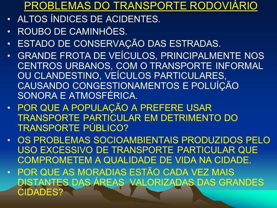 PROBLEMAS DO TRANSPORTE RODOVIÁRIO