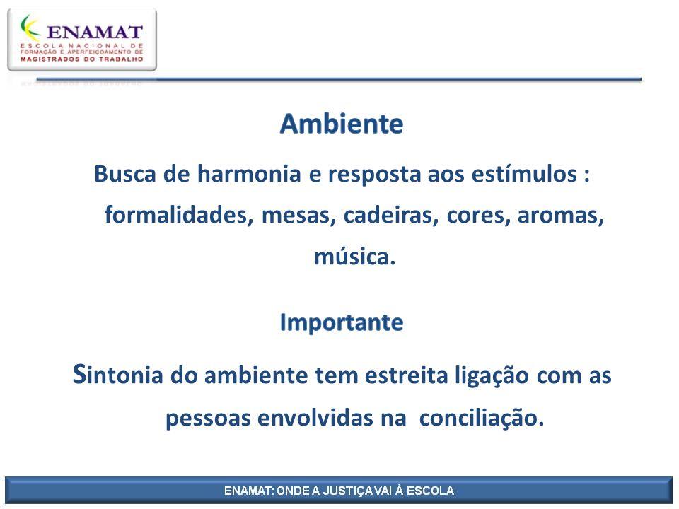Ambiente Busca de harmonia e resposta aos estímulos : formalidades, mesas, cadeiras, cores, aromas, música.
