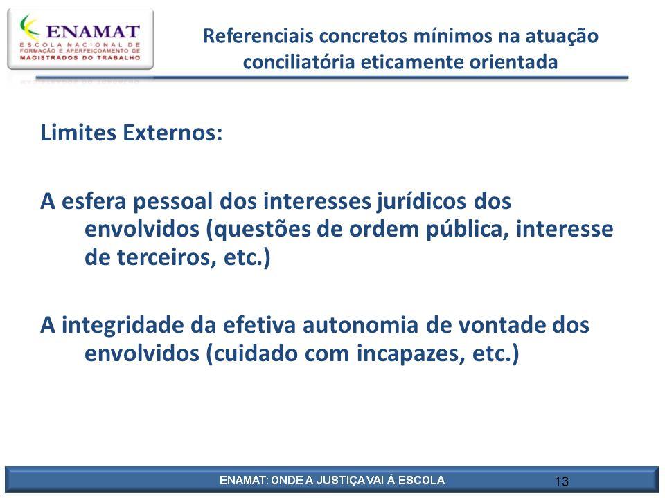 Referenciais concretos mínimos na atuação conciliatória eticamente orientada