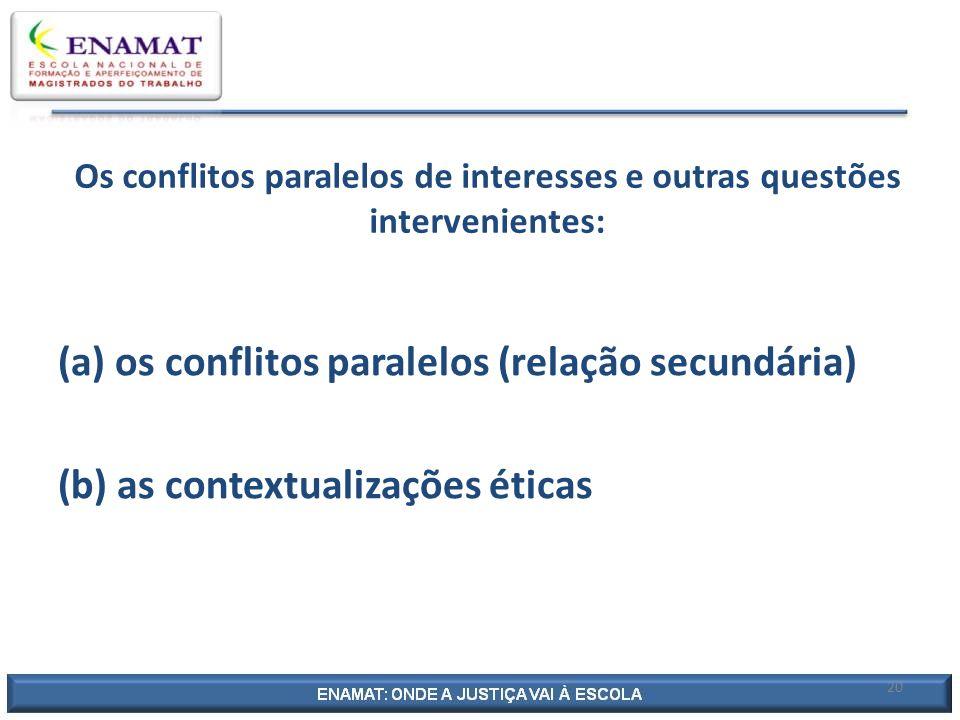 Os conflitos paralelos de interesses e outras questões intervenientes: