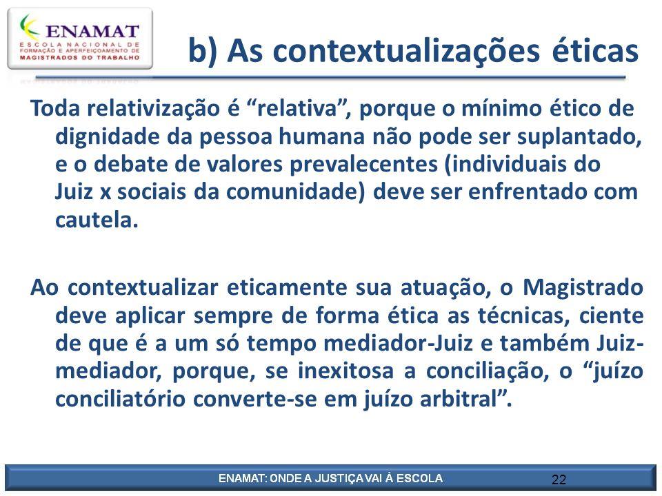 b) As contextualizações éticas