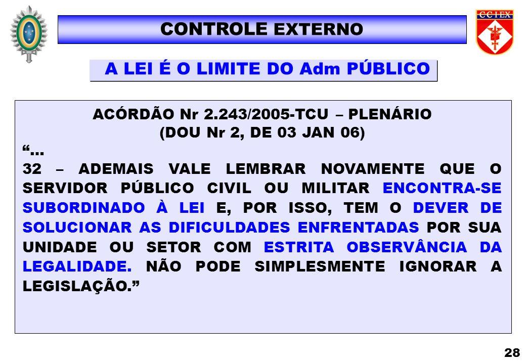 CONTROLE EXTERNO A LEI É O LIMITE DO Adm PÚBLICO