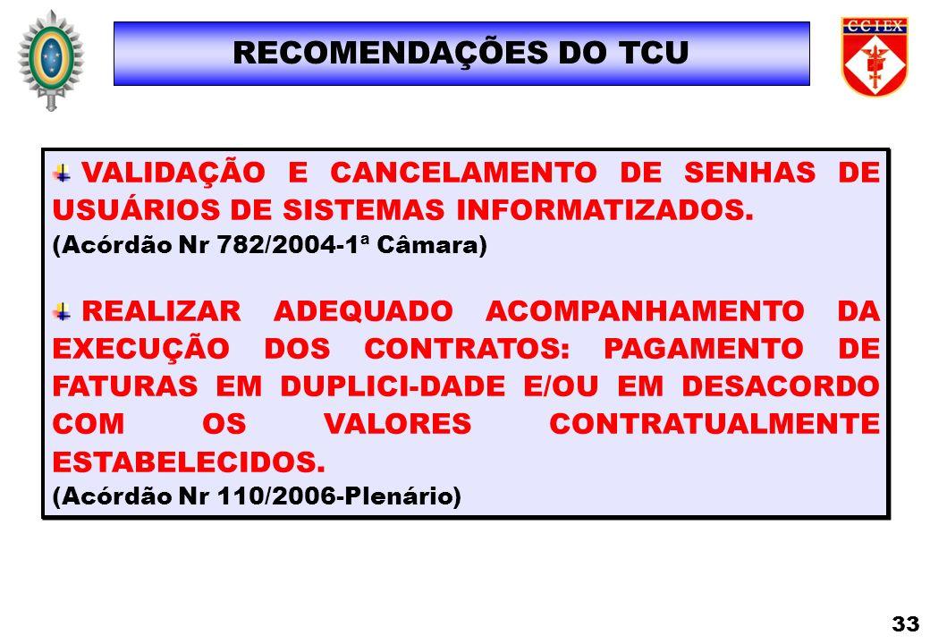 RECOMENDAÇÕES DO TCUVALIDAÇÃO E CANCELAMENTO DE SENHAS DE USUÁRIOS DE SISTEMAS INFORMATIZADOS. (Acórdão Nr 782/2004-1ª Câmara)
