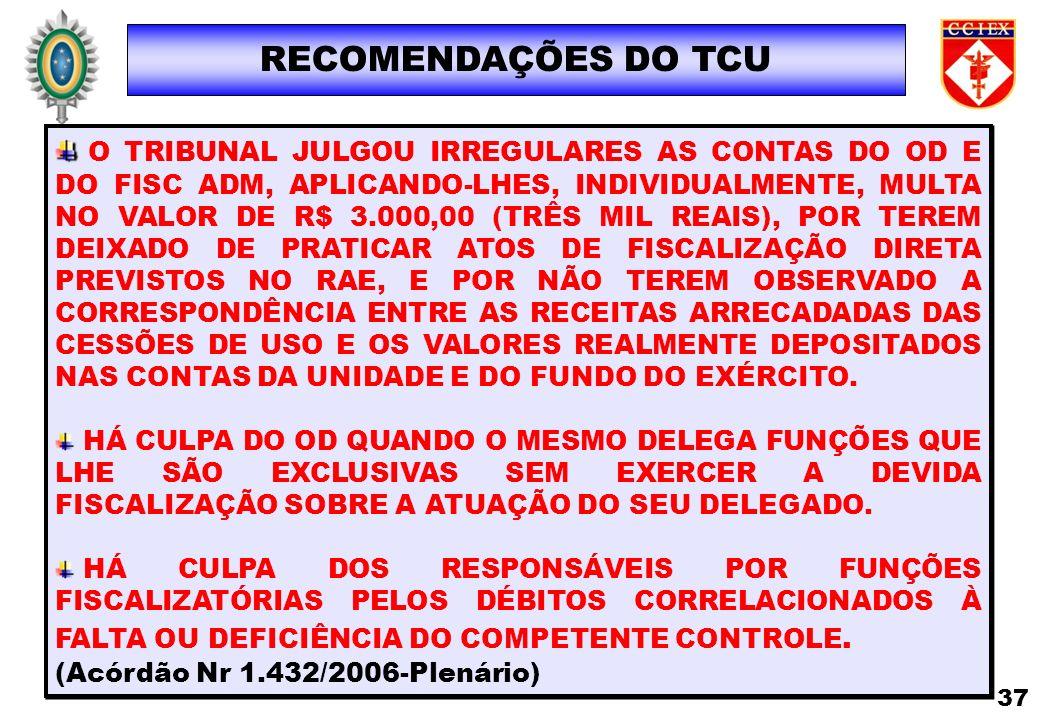 RECOMENDAÇÕES DO TCU