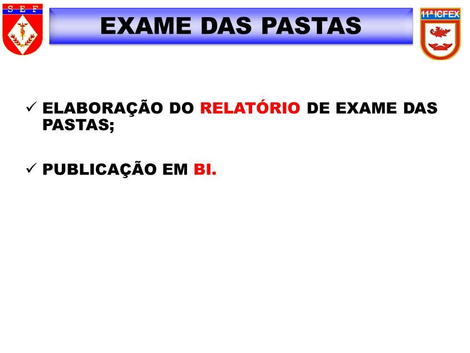 EXAME DAS PASTAS ELABORAÇÃO DO RELATÓRIO DE EXAME DAS PASTAS;