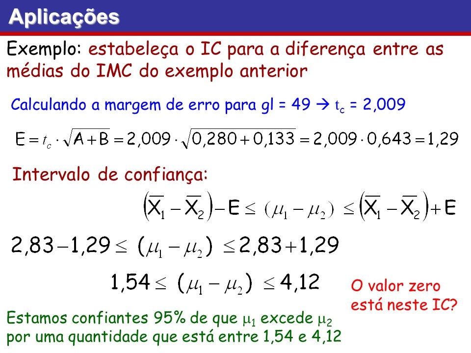 Aplicações Exemplo: estabeleça o IC para a diferença entre as médias do IMC do exemplo anterior.