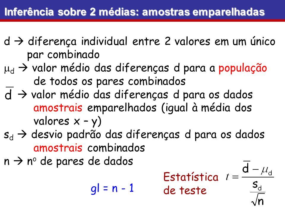 d  diferença individual entre 2 valores em um único par combinado
