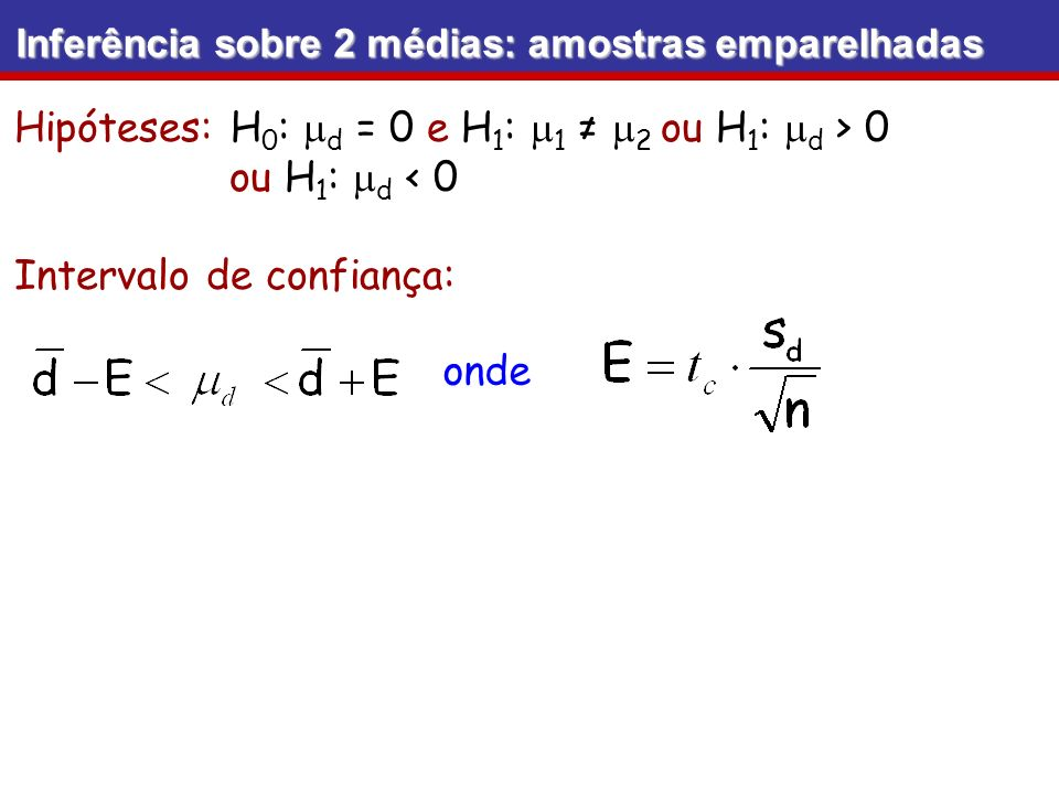 Hipóteses: H0: md = 0 e H1: m1 ≠ m2 ou H1: md > 0 ou H1: md < 0