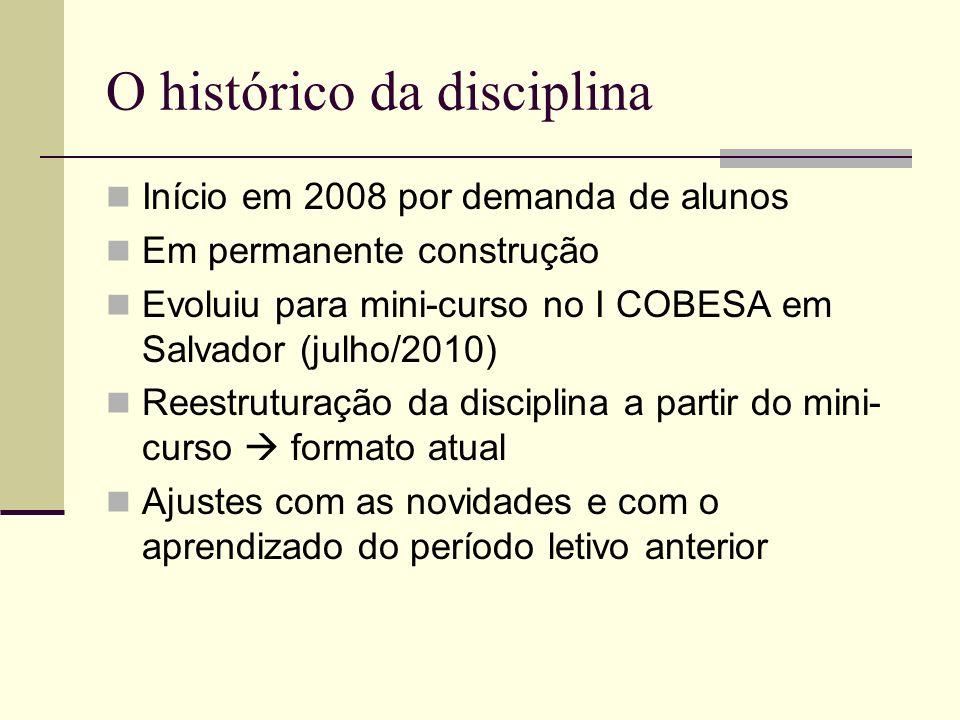 O histórico da disciplina