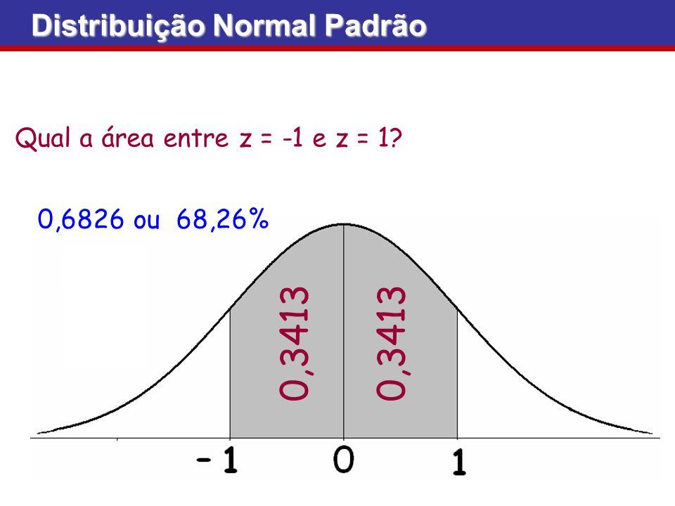 0,3413 Distribuição Normal Padrão Qual a área entre z = -1 e z = 1