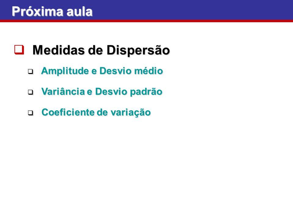 Próxima aula Medidas de Dispersão Amplitude e Desvio médio