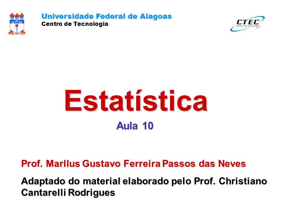 Estatística Aula 10 Prof. Marllus Gustavo Ferreira Passos das Neves