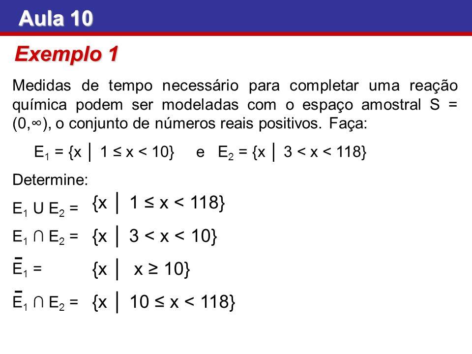 Aula 10 Exemplo 1 {x │ 1 ≤ x < 118} {x │ 3 < x < 10}