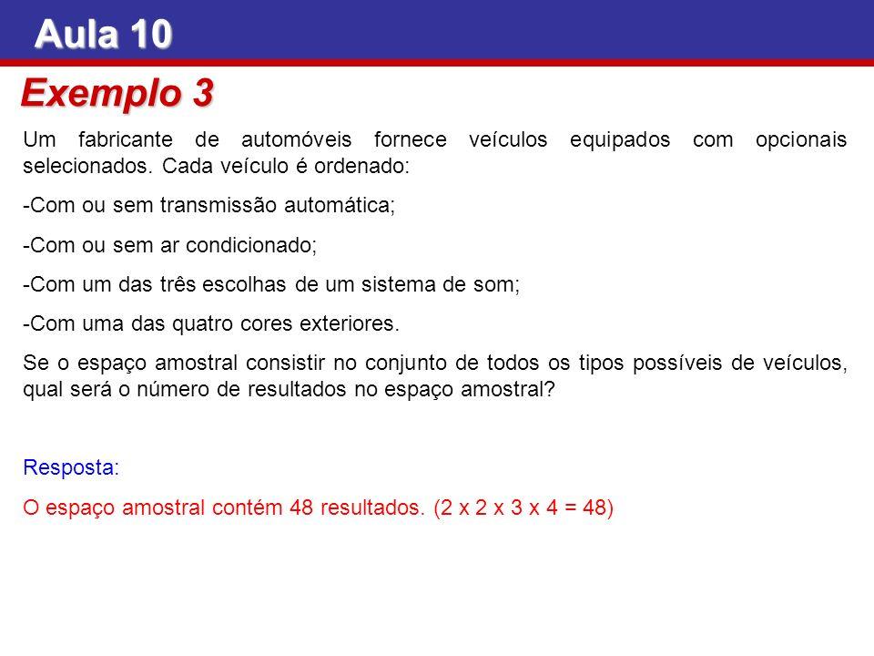 Aula 10 Exemplo 3. Um fabricante de automóveis fornece veículos equipados com opcionais selecionados. Cada veículo é ordenado: