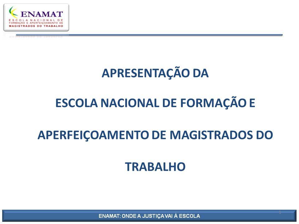 APRESENTAÇÃO DA ESCOLA NACIONAL DE FORMAÇÃO E APERFEIÇOAMENTO DE MAGISTRADOS DO TRABALHO
