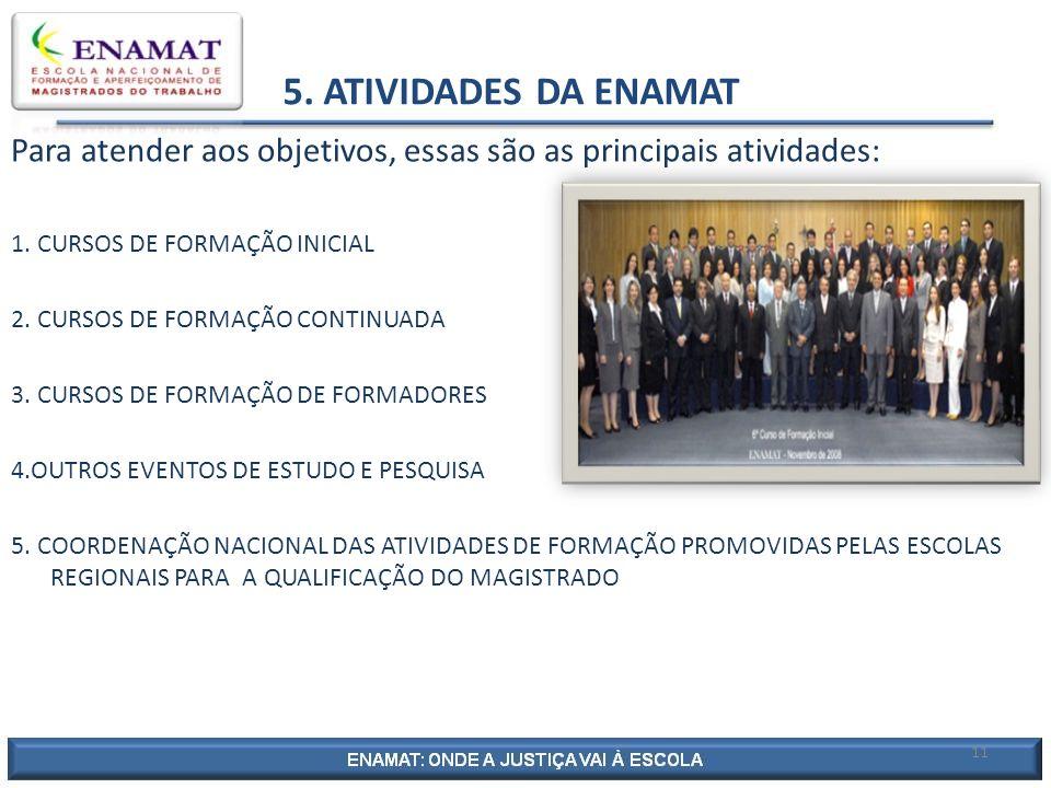 5. ATIVIDADES DA ENAMAT Para atender aos objetivos, essas são as principais atividades: 1. CURSOS DE FORMAÇÃO INICIAL.