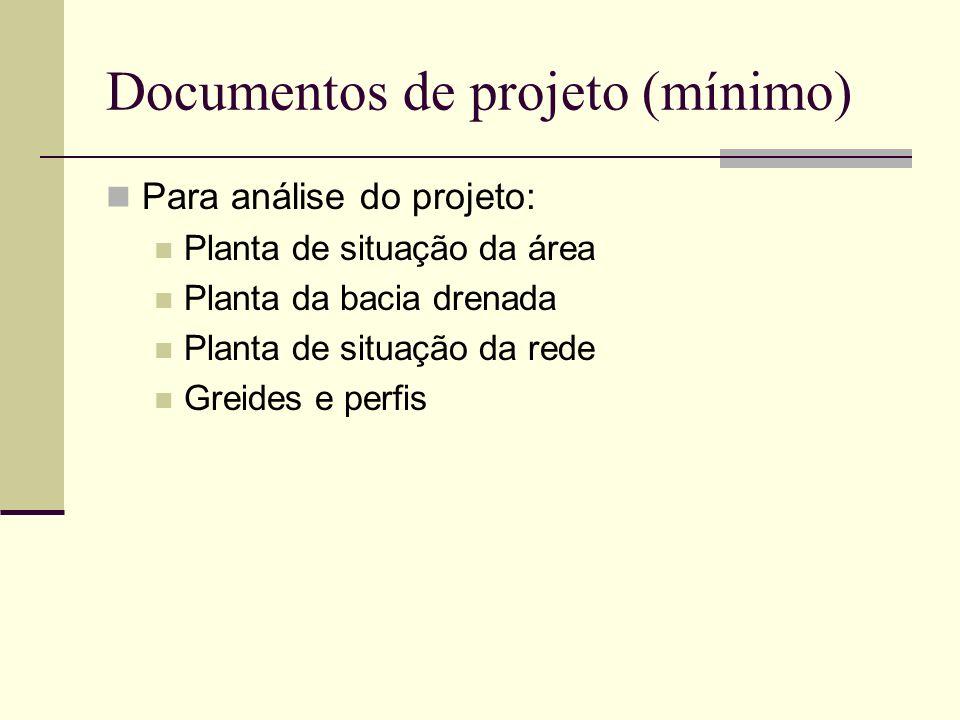 Documentos de projeto (mínimo)