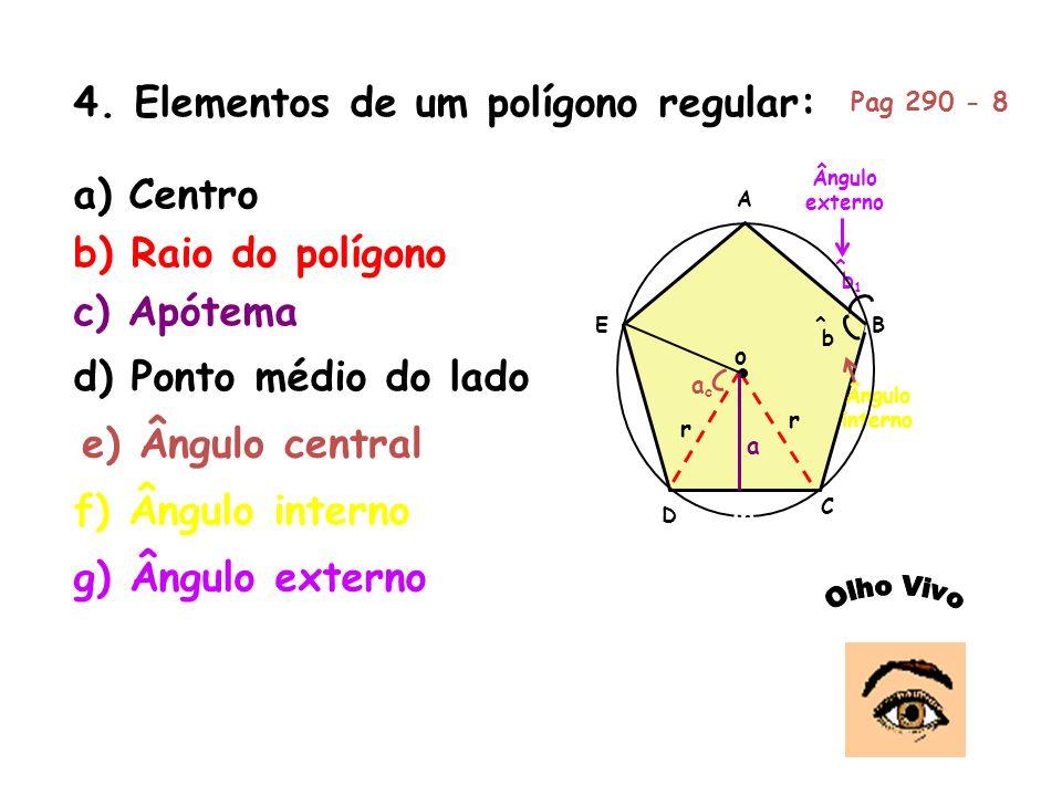 4. Elementos de um polígono regular:
