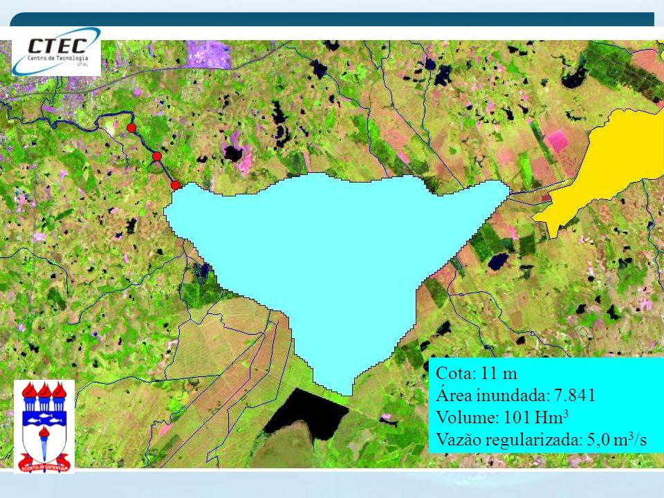 Cota: 11 m Área inundada: 7.841 Volume: 101 Hm3 Vazão regularizada: 5,0 m3/s