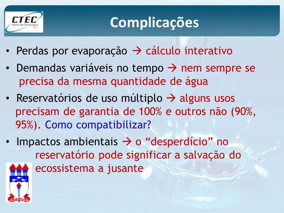 Complicações Perdas por evaporação  cálculo interativo