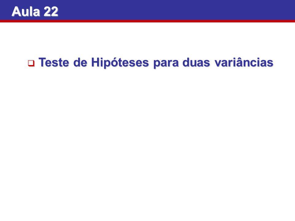 Aula 22 Teste de Hipóteses para duas variâncias
