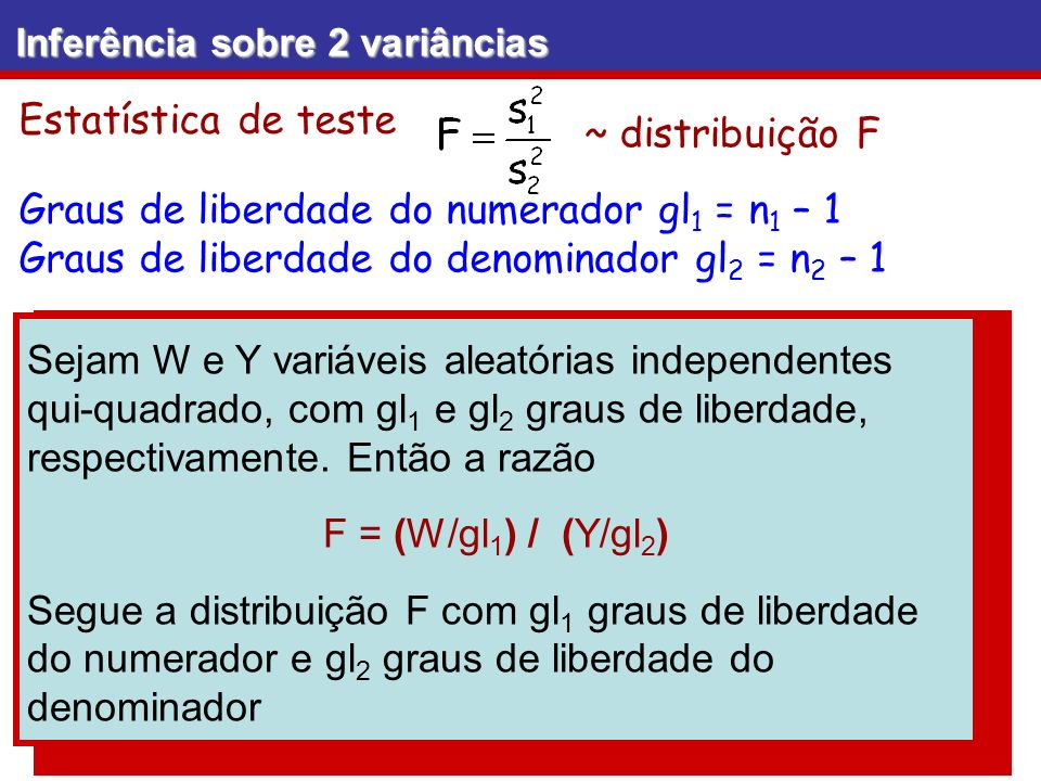 Graus de liberdade do numerador gl1 = n1 – 1