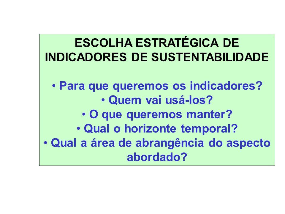 ESCOLHA ESTRATÉGICA DE INDICADORES DE SUSTENTABILIDADE