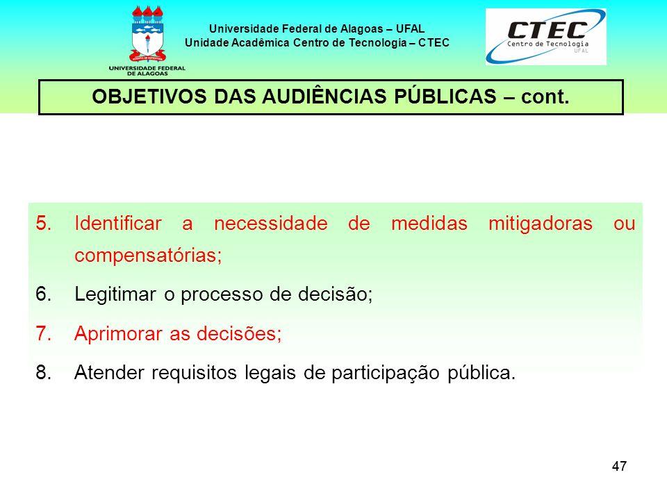 OBJETIVOS DAS AUDIÊNCIAS PÚBLICAS – cont.