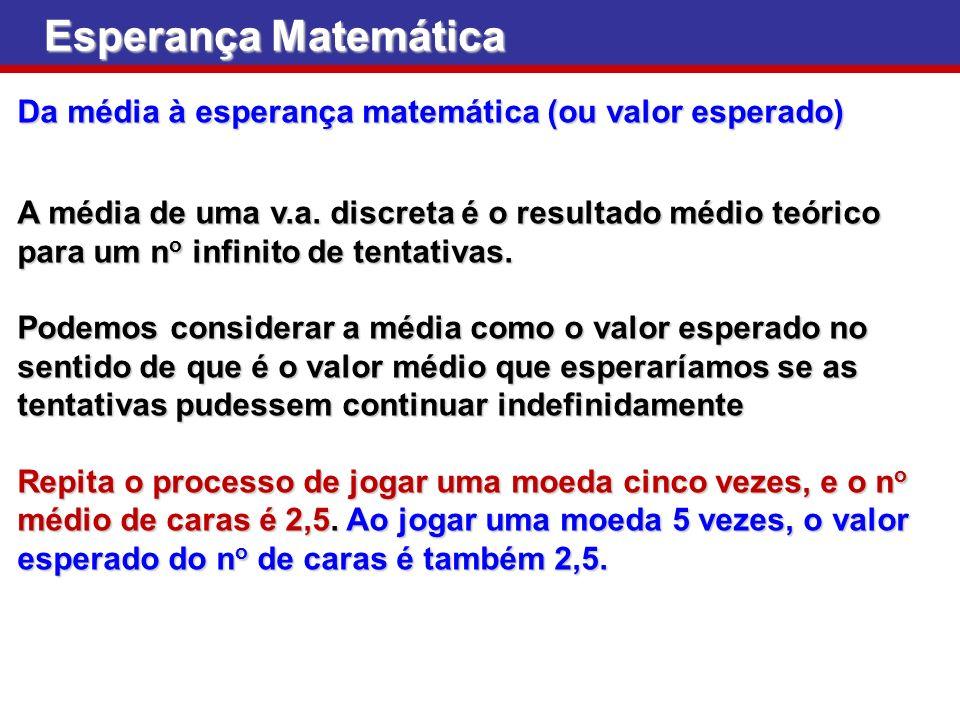 Esperança Matemática Da média à esperança matemática (ou valor esperado)