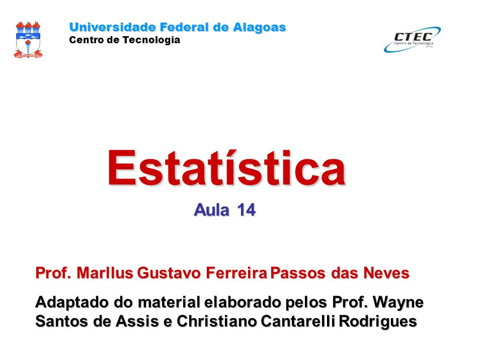 Estatística Aula 14 Prof. Marllus Gustavo Ferreira Passos das Neves
