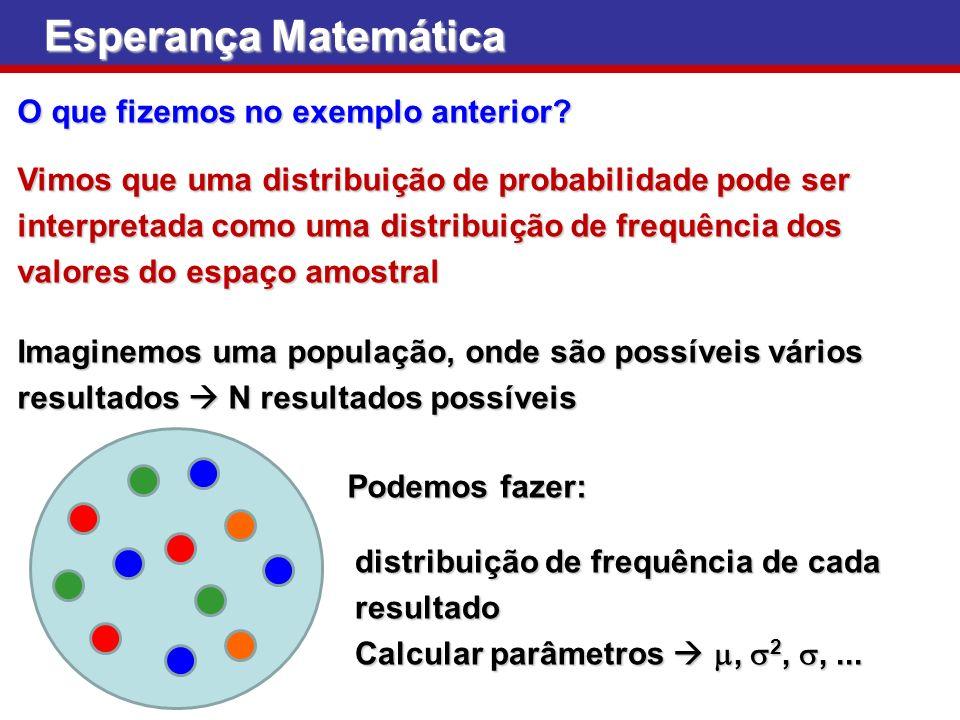 Esperança Matemática O que fizemos no exemplo anterior