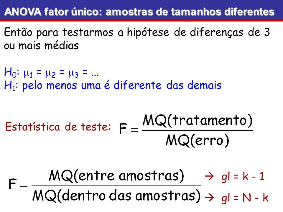 Então para testarmos a hipótese de diferenças de 3 ou mais médias
