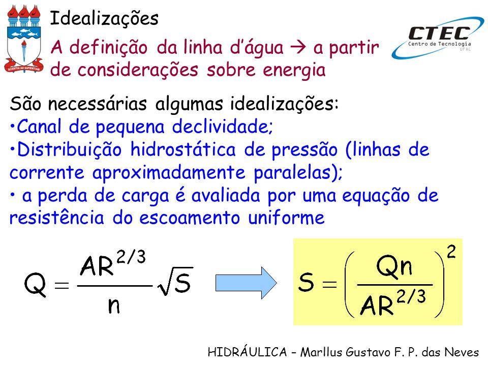 Idealizações A definição da linha d'água  a partir de considerações sobre energia. São necessárias algumas idealizações: