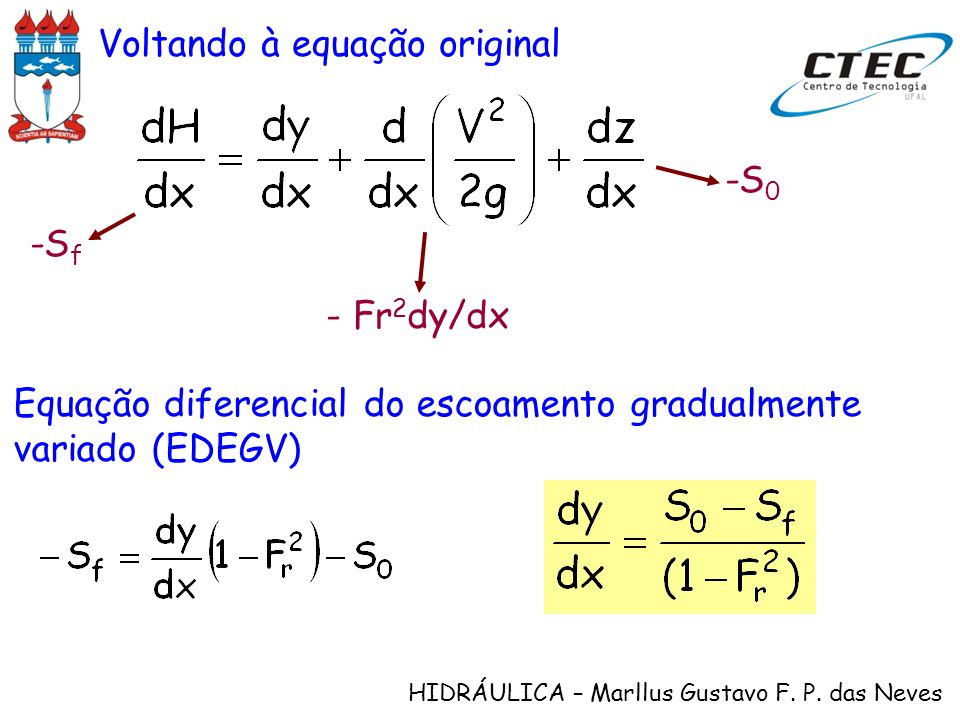 Voltando à equação original