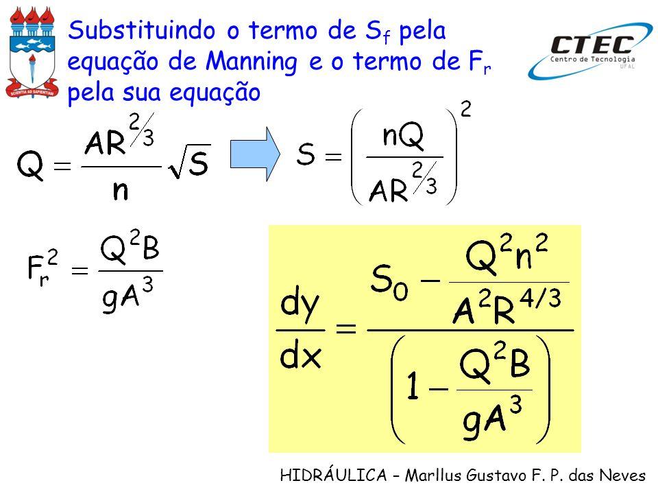 Substituindo o termo de Sf pela equação de Manning e o termo de Fr pela sua equação