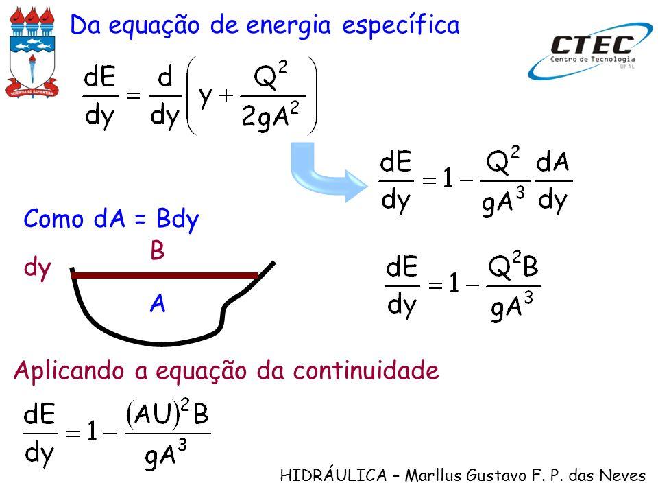 Da equação de energia específica