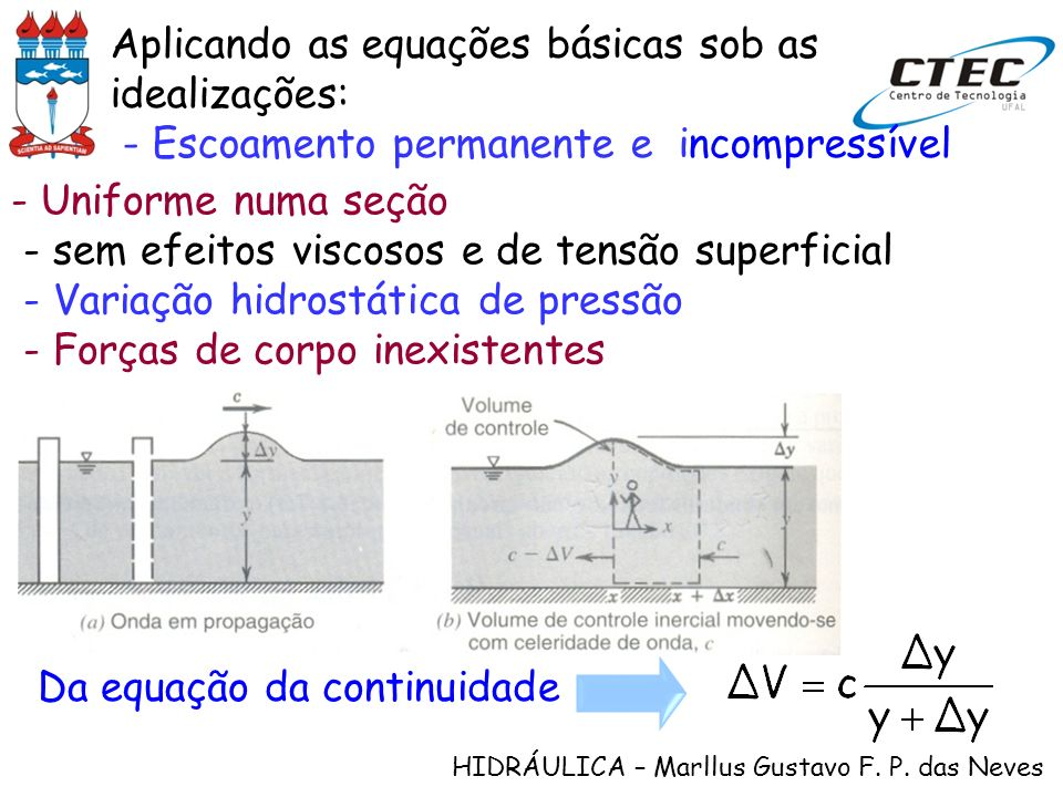 Aplicando as equações básicas sob as idealizações: