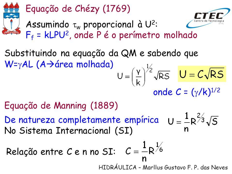 Equação de Chézy (1769)Assumindo tw proporcional à U2: Ff = kLPU2, onde P é o perímetro molhado.