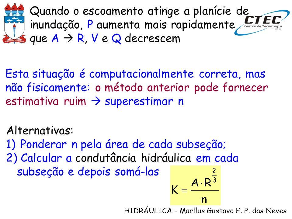 Quando o escoamento atinge a planície de inundação, P aumenta mais rapidamente que A  R, V e Q decrescem