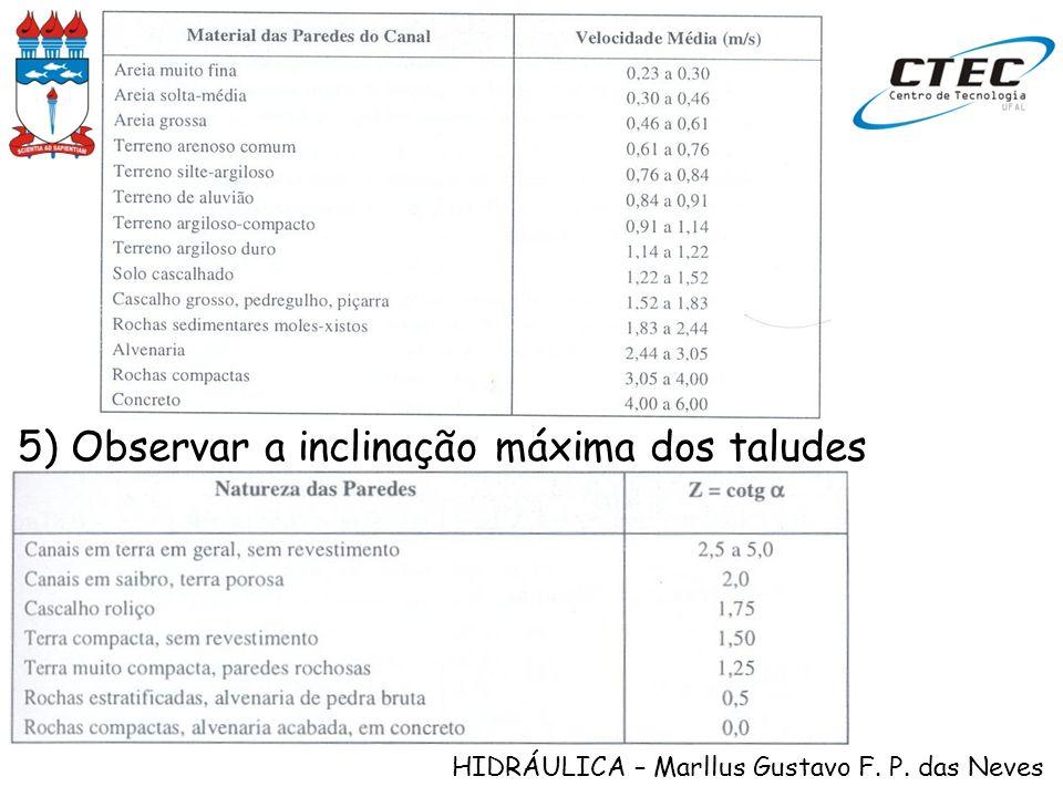 5) Observar a inclinação máxima dos taludes