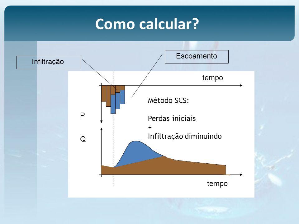 Como calcular Escoamento Infiltração tempo Método SCS: